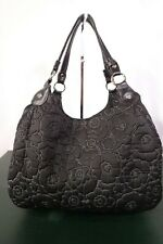 Large Thirty-One Black and Silver Quilted Floral Handbag Purse Satchel/Pre-Owned