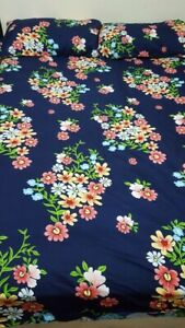 Printed fitted bed sheet with pillow cases