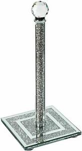 Crushed Diamond Crystal Filled Tissue Roll Holder Kitchen Silver