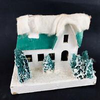 "Vtg lg White & Green Putz House 7""W Christmas House Decoration Festive Japan"