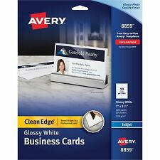 Avery Clean Edge Business Cards Inkjet 2 x 3 1/2 Glossy White 200/Pack 8859