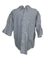 Columbia Short Sleeve Button Down Shirt Mens Size Large Blue Plaid Cotton
