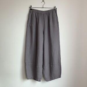 SAHARA Mauve Purple Textured Bubble Hem Balloon Linen Trousers Size 3 - 14/16