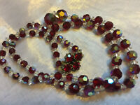 VINTAGE Rainbow Glass Red Aurora Borealis Graduated Necklace Beaded Clasp #3