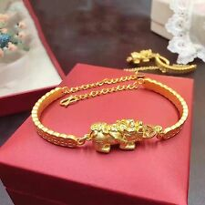 Pure 999 24K Yellow Gold Necklace /3D Lucky Coin 貔貅 Chain Bangle Bracelet / 6g