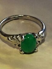 Silver Plated Green Jade Ring - sz 6