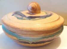 Signed Art Pottery Covered Dish with Shell Handle