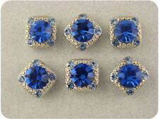 "2 Hole Beads ""Stardust Gala"" Sapphire Blue 8mm Swarovski Crystal Elements QTY 6"