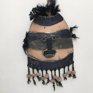 "Handcrafted Helen Troy Vessells Studio, Pottery Mask 14"" Long Winston-Salem, NC"