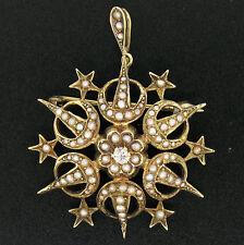 Vittoriano 14k oro giallo stile antico Diamante & perla grande Crescente STAR