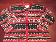 WOMEN'S HEIRLOOM COLLECTIBLES UGLY CHRISTMAS ZIP UP SWEATER GAUDY SIZE L