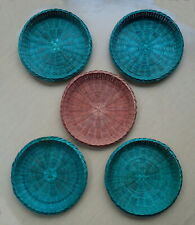 """10 Lot 9.5"""" Wicker Ratan Bamboo Paper Plate Picnic Plate Holders Tan, Green, Red"""
