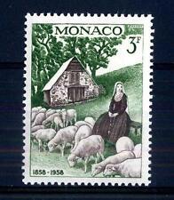 """MONACO - 1958 - Centenario delle apparizioni di Lourdes - 3 f. """"Bernadette"""""""