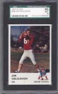 1961 Fleer football card #180 Jim Colclough Boston Patriots graded SGC 96 MINT 9