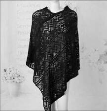 Ladies Poncho Stole Cape Shrug Wrap Shawl Jumper Sweater Cloak Cardigan Crochet