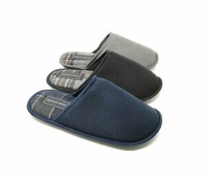 Mens Unisex Mule Slippers Blue Black Grey with Sole UK Size 7 8 9 10 11 12