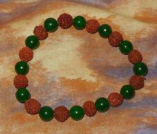 Genuine Rudraksha Green Jade Bead NEW Stretch Bracelet Healing Pregnant Mothers
