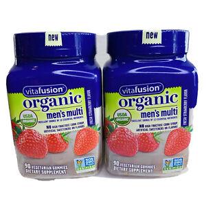 Vitafusion Organic Men's Multi 90 Vegetarian Supplement Strawberry Non GMO New