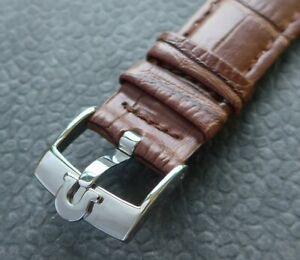 OMEGA Acciaio Inox Fibbia Ardiglione (NOS) Con 18mm Qualitäts-lederband -marrone