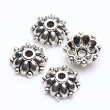100/200Pcs Tibetan Silver Carved Charm Jewelry Beads Caps Findings Crafts 8*3mm