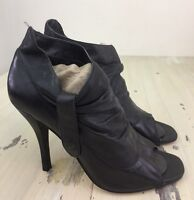 STEVE MADDEN: Midory Womens Black Leather Slouch High Heel Shoes Ankle Boots, 8M