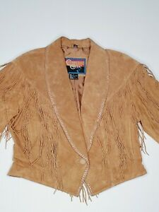 Cripple Creek Women's L Rancher Cowgirl Fringe Suede Leather Jacket