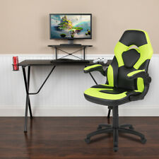 Blackarc Gaming Desk And Racing Chair Set With Headphone Hook And Monitor Stand