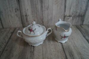 Wawel Fryderyka Blumen Milch und Zucker Zuckerdose mit Deckel Milchkännchen