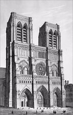 OUR LADY of PARIS before the restoration of Viollet-le-Duc - Engraving 19th c.