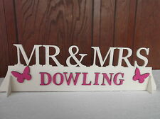 Mr & Mrs wooden sign Plaque wedding decorations top table gift all cols avail