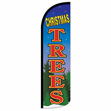 Christmas Trees Swooper Flag and Pole Set Windless Banner Sign 3' Wide Blue Tree