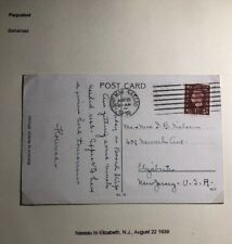 1939 Nassau Bahamas Picture Postcard  Paqueboat Cover To Elizabeth NJ USA