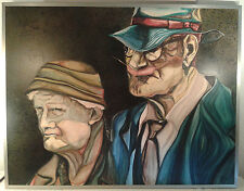 "Arno Langen  "" Altes Paar""  ""Old Couple""  Original monogram. A. L. 76 gerahmt"