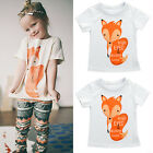 Toddler Kids Baby Boys Girls Fox Print Short Sleeve T-shirt Tops Tees Clothing