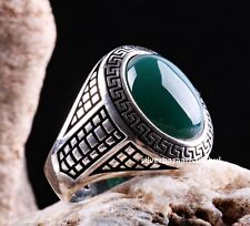 Emerald Stone Turkish Jewelry Handmade 925 Sterling Silver Men Ring ALL SİZE 175