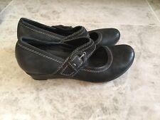 Jana Wedge Shoe Mary Jane Style Black Uk7H