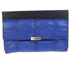 Authentic FURLA Logos Long Bifold Wallet Purse Genuine Leather Blue 07V1014