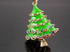 Fashion Christmas tree Crystal Pendant Necklace Sweater chain EE03