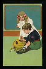 Halloween postcard Unknown 778-5 PFB Copy JOL carving children Vintage