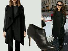 Bnwt Allsaints Aice Monument coat.Hyde.leather sleeve.uk 4(4-6).Black.£358