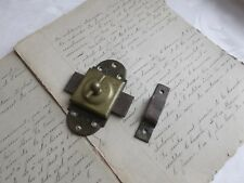 French antique hardware brass iron latch lock with receiver c.1900 marked