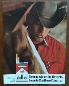 1966 Marlboro Cigarettes Cowboy Smoking In Red Shirt Photo Vintage Print Ad