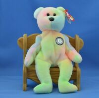 B.B. Bear TY Beanie Baby Birthday Light Pastel Mostly Yellow Front Tie-dyed MWMT