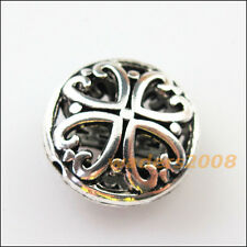4 New Charms Round Flower Heart Flat Spacer Beads 16mm Tibetan Silver