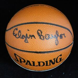 Elgin Baylor Los Angeles Lakers Signed Mini Basketball JSA Authenticated