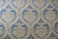 SCHUMACHER CURTAIN  FABRIC Haddon Hall Damask 12 METRES 100% COTTON SWEDISH BLUE