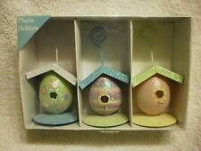 NANTUCKET PHOTO HOLDERS COLORFUL EGG BIRDHOUSE DESIGN PICTURE STANDS (3 PACK)