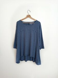 Coolibar Woman's UPF 50+ UV Protection Striped Blue Half Sleeve Top Size XL