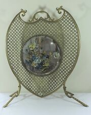 Antique Ornate Exquisite Brass Federal Fireplace Screen Mirror Painted Flowers