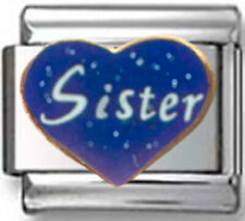 SISTER LOVE BLUE HEART Enamel Italian 9mm Charm FA047 Fits Nomination Classic